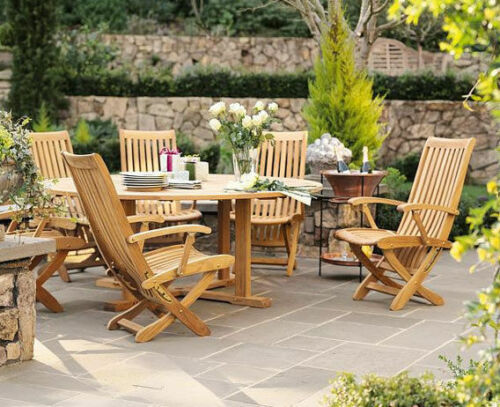 7 PC TEAK DINING SET GARDEN OUTDOOR PATIO FURNITURE R01 WARWICK RECLINING CHAIRS