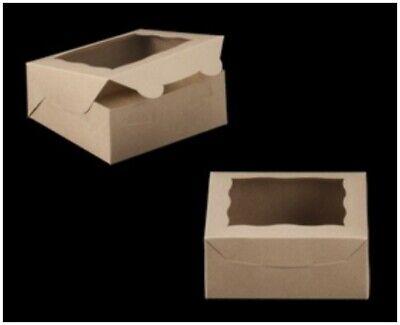 Kraft Bakery Box 6 Length X 6 Width X 2.5 Height Auto-popup Window - 90 Pieces