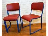 27 available red blue stacking vintage chairs antique dining kitchen industrial seating cafe