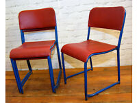 27 available red blue stacking vintage chairs antique dining kitchen industrial retro seating cafe