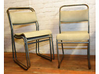22 available grey stacking vintage chairs antique dining kitchen industrial restaurant retro seating