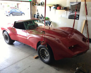 72 Greenwood Wide Body Corvette on New Condition Rolling Chassis