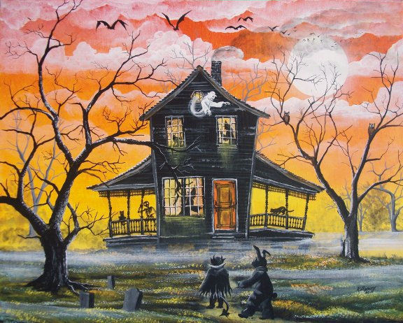 Byrum Folk Art Halloween HAUNTED HOUSE PRINT Bunny