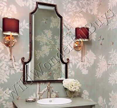 Curled Bamboo Wall Mirror Antique Black Gold Foyer Beveled Asian Inspired Metal