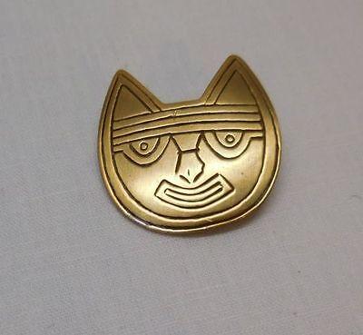 Cat Face Pin Brooch Marked LAM Goldtone Cat Design Vintage