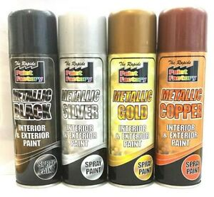 Silver copper black metallic spray paint aerosol interior exterior new ebay Black metal spray paint