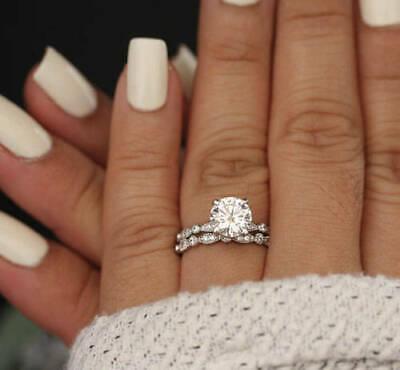 2.00 Ct Round White Moissanite Engagement Wedding Ring Set Solid 14K White Gold