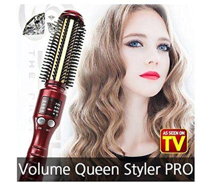 SS Shiny Gold Diamond Volume Iron Hair brush Perfect Hair Curling Iron 1EA