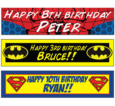 2 Personalised Spiderman Superman Batman Banners Birthday Christening Party (Christening Party Banners)