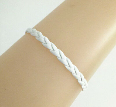 - New White PU Leather Cords Braided Leather Bracelet Handmade Bangle