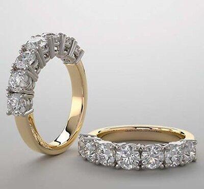 2.45 ct GIA Round Diamond G VVS 14k Two tone Gold Ring Wedding Band 7 x 0.35 ct