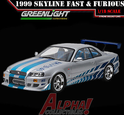 Greenlight 19029 1 18 Brians 1999 Nissan Skyline Gt R R34 Fast   Furious 2003