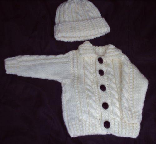 bd3953b48bf6 Hand Knitted Baby Aran