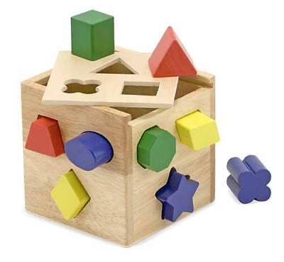 Shape Sorting Cube (NEW Melissa and Doug Wooden Shape Sorting Cube, preschool toddler)