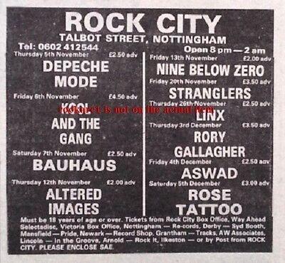 DEPECHE MODE UK TIMELINE Advert - Rock City Nottingham 5-Nov-1981 3x3 inches