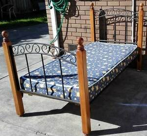 solid timber and metal frame single bed with mattress Glen Waverley Monash Area Preview