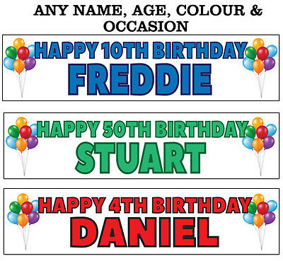 2 Personalised party Banners birthday christening decoration name age colour 1A (Christening Party Banners)