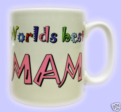 Worlds Best Mam Printed Mug. Mothers Day present, xmas, gift mugs for your mum