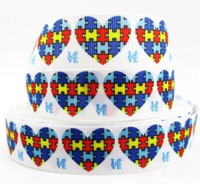 Heart Awareness Ribbon (Autism Awareness Heart grosgrain ribbon hair bows key chains lanyards)