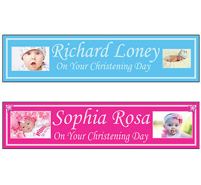2 Personalised Photo party banners Christening baptism birthday decoration  2a (Christening Party Banners)
