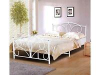4ft6 Double Metal Bed Frame White Steel Modern Design