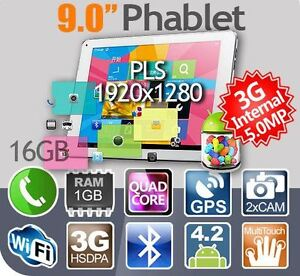 9'' 3G Phone Tablets Quad Core 1920X1280 PLS Android 4.2.2