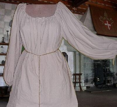 Renaissance Chemise Medieval  Undergown SCA Garb White Cotton Muslin LXL p