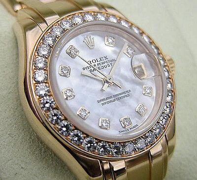 Rolex Datejust Pearlmaster Masterpiece 80298 Ladies YG White MOP Diamond 29MM