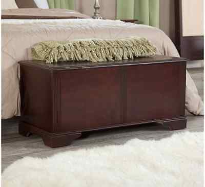 Hope Chest Trunk Cherry Finish Wood Cedar Bedroom Storage Bench ...