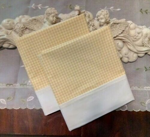 COUNTRY COTTAGE SET OF 2 YELLOW & WHITE GINGHAM STANDARD PILLOWCASES - BRAND NEW