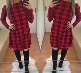 Ladies red tartan dress,size 12-14,Brand new
