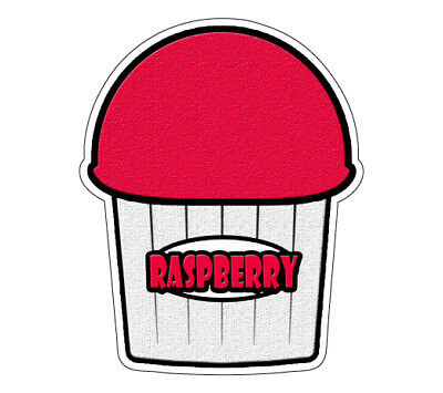 Raspberry Flavor Italian Ice Decal Shaved Ice Sign Cart Trailer Sticker