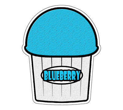 Blue Berry Flavor Italian Ice Decal Shaved Cart Trailer Stand Sticker