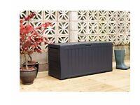 Keter Wood Effect Plastic Garden Storage Box - Grey 151.