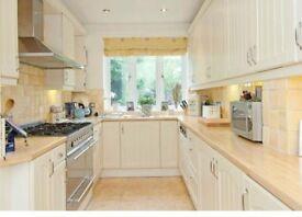 Fitted kitchen. Cream
