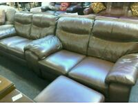 Two 2 seater brown leather sofa & stool #33071 £300