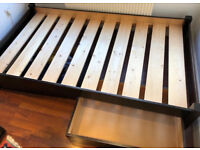 Warren Evans Single Wooden Bed and Mattress plus 2 underbed drawers