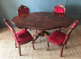 Italian inland dining table with 4 chairs