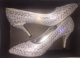 Womens Silver Diamante Embellished Pointed Occasion Shoes
