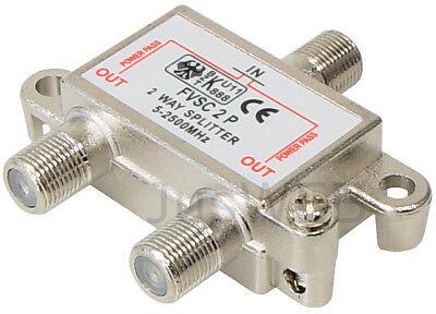 2-fach SAT Verteiler Splitter 5-2500MHz 100dB digital Kabel TV DVB-T HDTV UKW