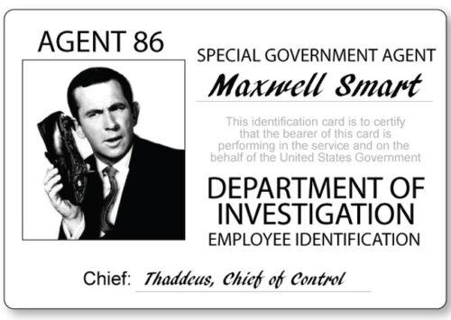 GET SMART MAXWELL SMART AGENT 86 NAME BADGE PROP HALLOWEEN COSPLAY MAGNET BACK