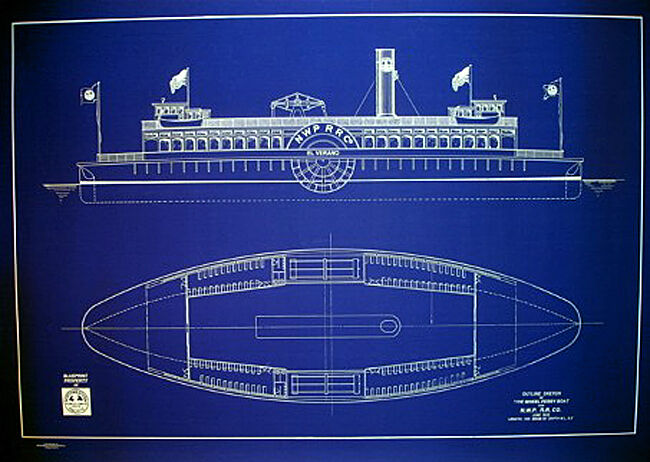 "Vintage California Ferry Boat 1910  Blueprint Plan 24""x35"" (076)"