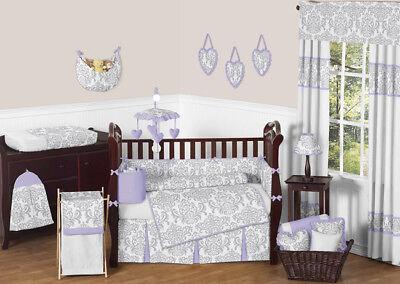 (Sweet Jojo Luxury Lavender Gray Damask Baby Bedding Crib Set for Newborn Girl)