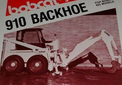 Bobcat 825 Skid Steer Loader 910 Backhoe Spec Sheet Sales Brochure Clark 879