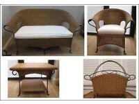 Wicker Sofa, Armchair, Coffee Table & Magazine Rack