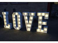 Wedding Hire LOVE Letters, Wishing Well, Backdrop, Table Linen, Chair Covers plus more