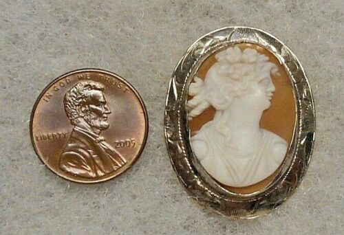 Antique Circa 1910 Silver-plated Brooch w Italian Carved Classical Lady Cameo