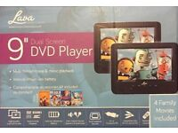 "Lava 9"" twin DVD players (2 in the box) with 4 DVD's"