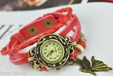 VINTAGE BRACELET WOMEN WRIST WATCH WITH ANGEL PENDANT- PINK
