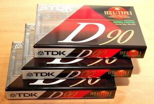 3 x TDK D90 Cassettes - Factory Sealed - NEW Blank Tapes